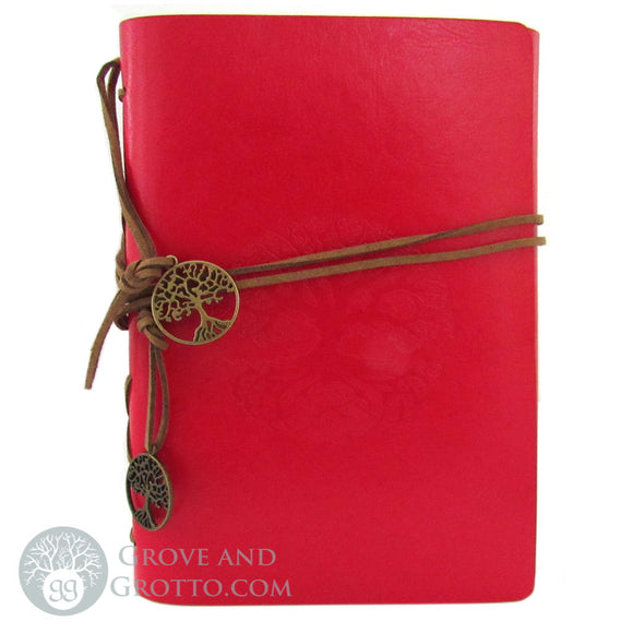 Faux Leather Tree of Life Journal (Red)