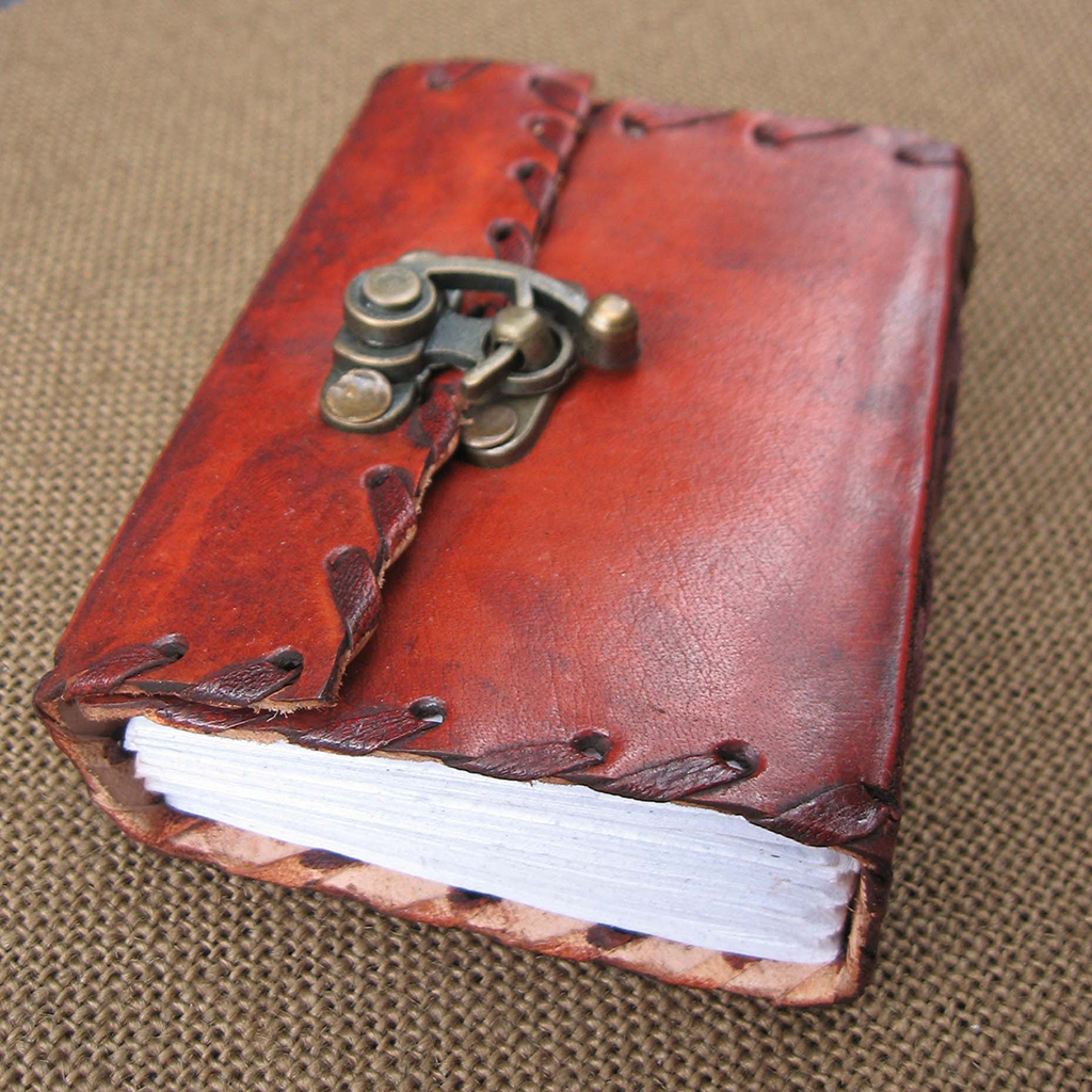 Topstitched Leather Mini Journal - Grove and Grotto