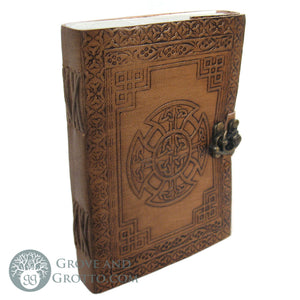 Celtic Cross Leather Journal with Latch - Grove and Grotto