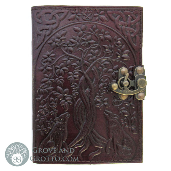 Celtic Wolves Leather Journal with Latch
