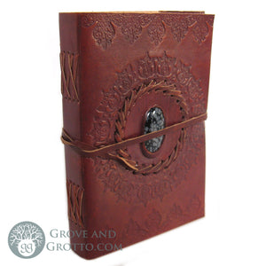 "Leather Journal 5x7"" with Stone (Snowflake Obsidian)"