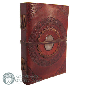 "Leather Journal 5x7"" with Stone (Rose Quartz)"