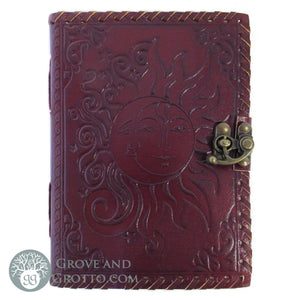 Sun and Moon Leather Journal with Latch - Grove and Grotto