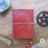 Triple Moon and Pentagram Leather Journal