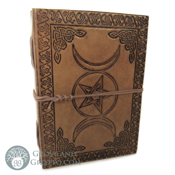 Triple Moon and Pentagram Leather Journal - Grove and Grotto