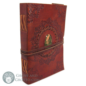 "Leather Journal 5x7"" with Stone (Unakite)"
