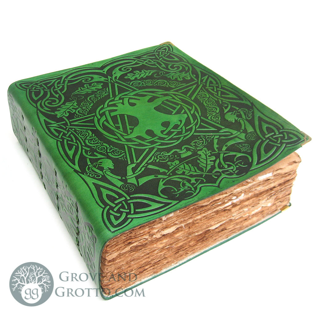 Green Tree Pentagram Book of Shadows (Ancient Parchment)