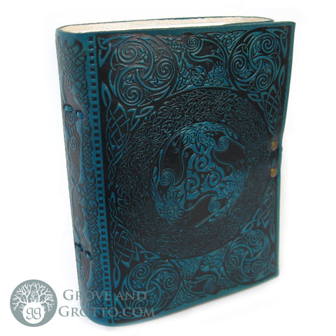 Poetic Earth Celtic Ravens Leather Journal - Grove and Grotto
