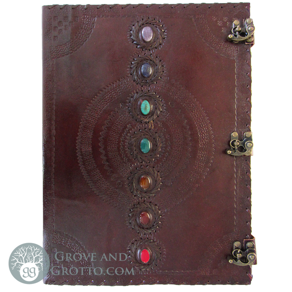 Huge Seven Chakras Leather Journal
