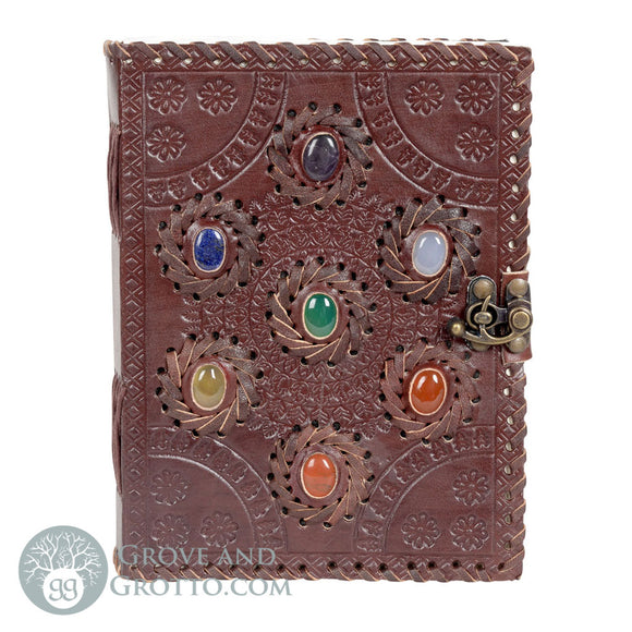 Seven Chakras Leather Journal (8x6