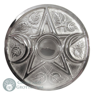 Large Silver-Plated Triple Moon Altar Tile 9""