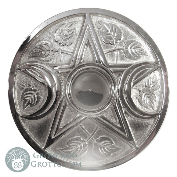 Large Silver-Plated Triple Moon Altar Tile 9