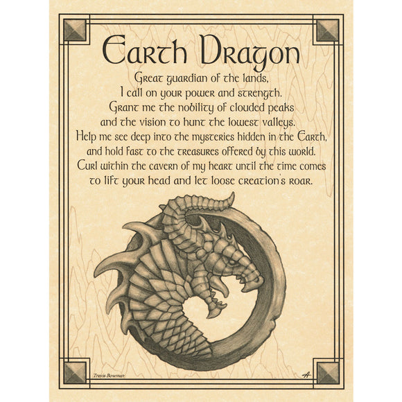 Earth Dragon Parchment Poster (8.5