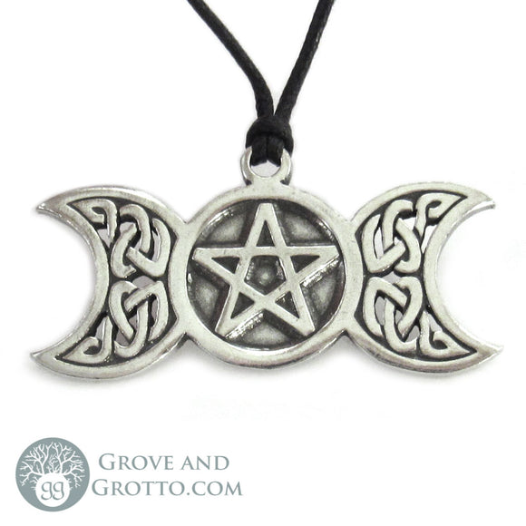 Large Triple Moon and Pentagram Pendant
