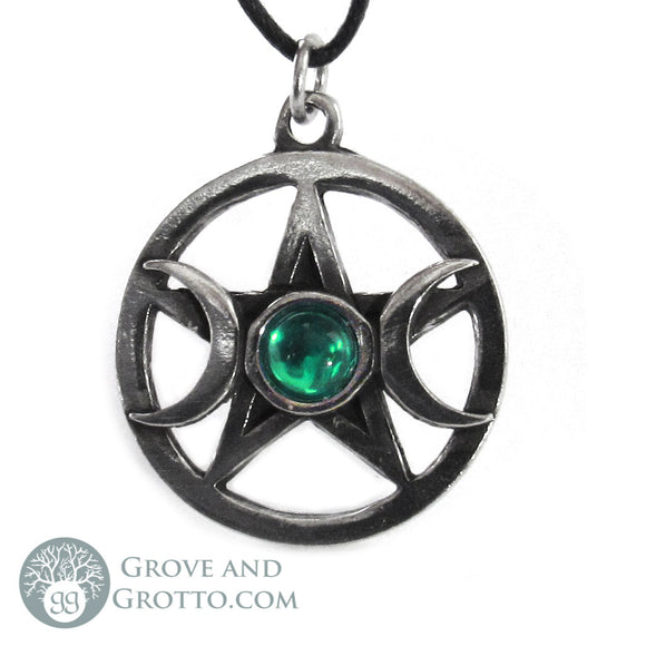 Triple Moon Pentagram with Gem (Green)