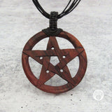 Carved Wood Pentagram Pendant
