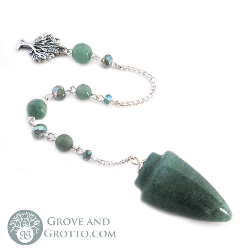 Green Aventurine Pendulum with Tree of Life Charm