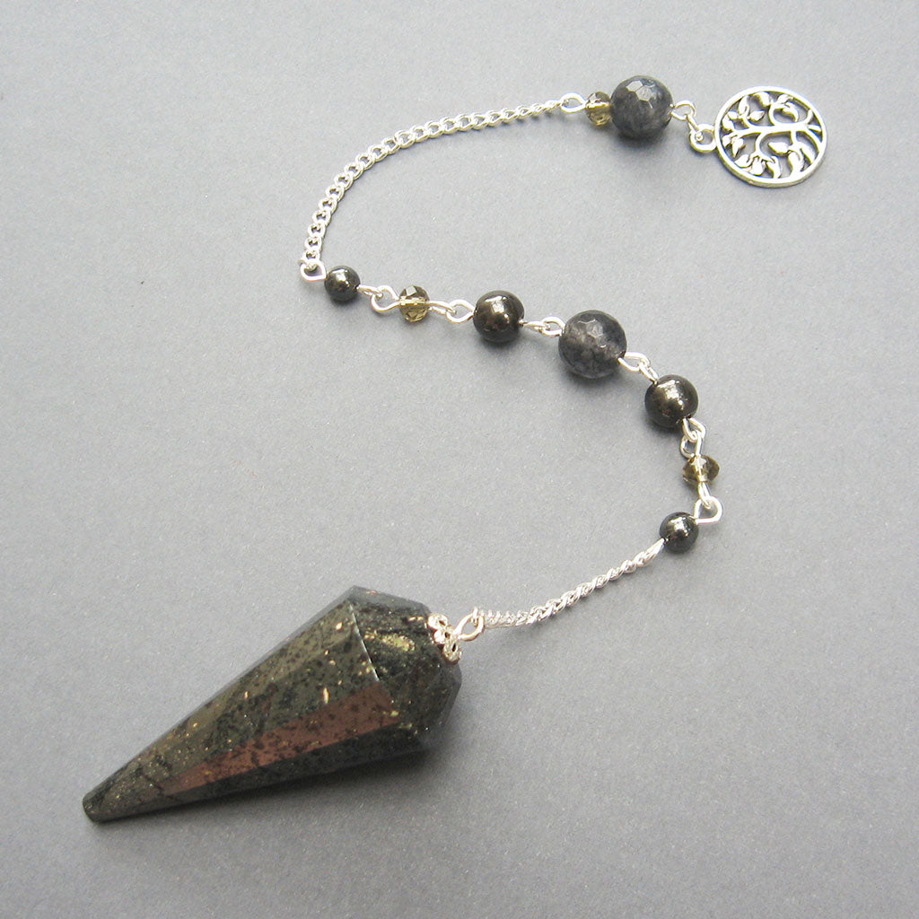 Faceted Hematite Pendulum with Pyrite - Grove and Grotto
