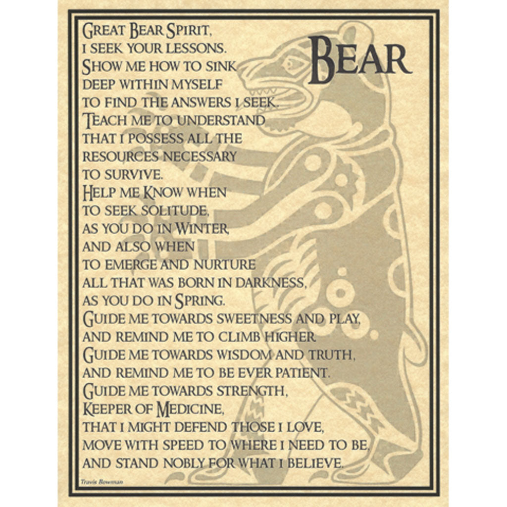 "Bear Prayer Parchment Poster (8.5"" x 11"") - Grove and Grotto"