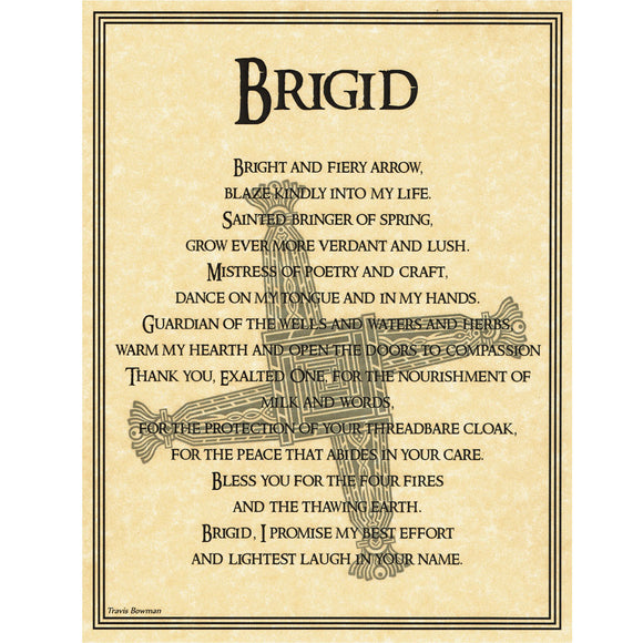 Brigid Prayer Parchment Poster (8.5