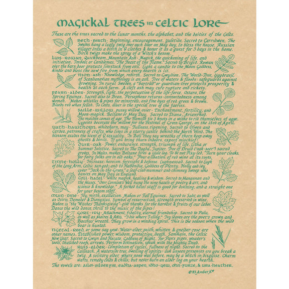 Celtic Trees Parchment Poster (8.5