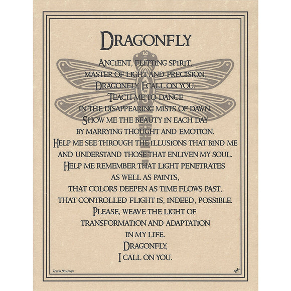 Dragonfly Prayer Parchment Poster (8.5