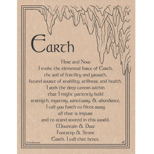"Earth Evocation Parchment Poster (8.5"" x 11"") - Grove and Grotto"