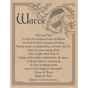 "Water Evocation Parchment Poster (8.5"" x 11"") - Grove and Grotto"