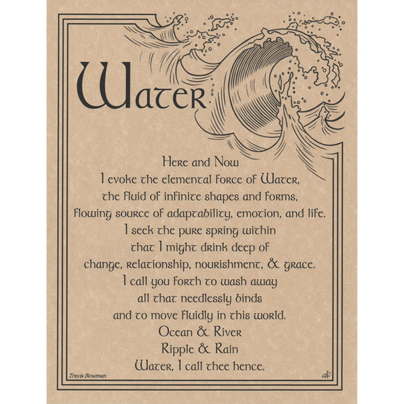 Water Evocation Parchment Poster (8.5