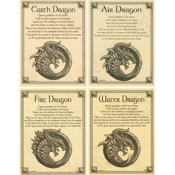 Set of Four Dragon Parchment Posters (8.5