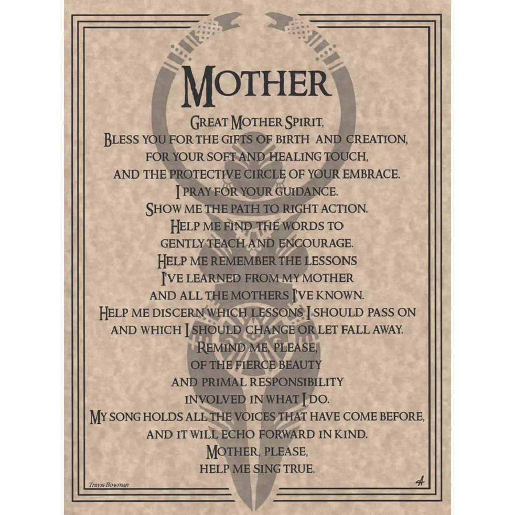 "Mother Prayer Parchment Poster (8.5"" x 11"")"