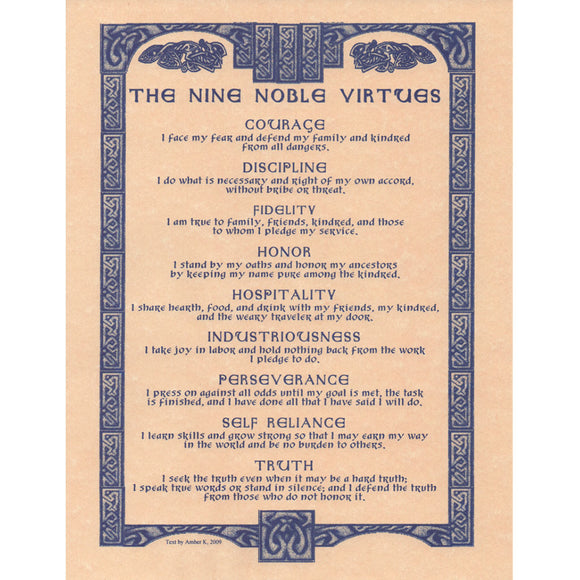 Nine Noble Virtues Parchment Poster (8.5