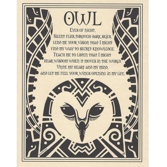 Owl Prayer Parchment Poster (8.5