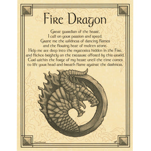 "Fire Dragon Parchment Poster (8.5"" x 11"") - Grove and Grotto"