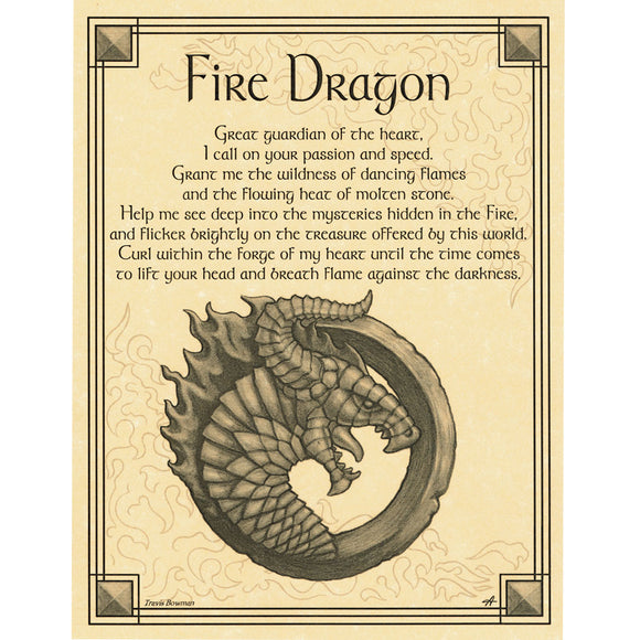 Fire Dragon Parchment Poster (8.5
