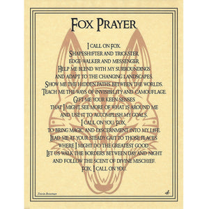 "Fox Prayer Parchment Poster (8.5"" x 11"") - Grove and Grotto"