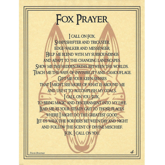 Fox Prayer Parchment Poster (8.5