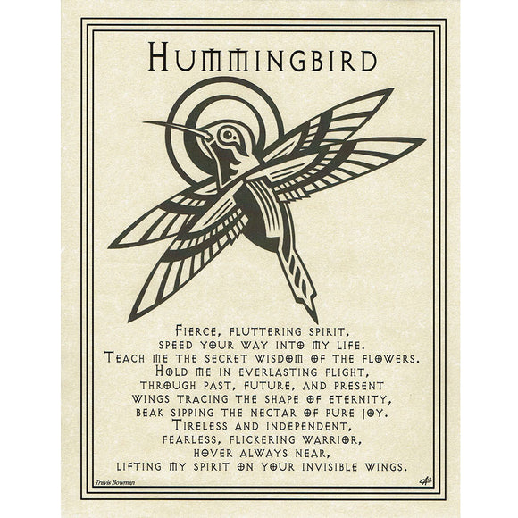 Hummingbird Prayer Parchment Poster (8.5