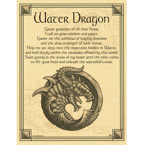 "Water Dragon Parchment Poster (8.5"" x 11"") - Grove and Grotto"