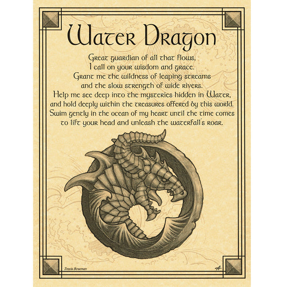 Water Dragon Parchment Poster (8.5