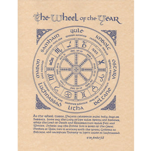 "Wheel of the Year Parchment Poster (8.5"" x 11"") - Grove and Grotto"