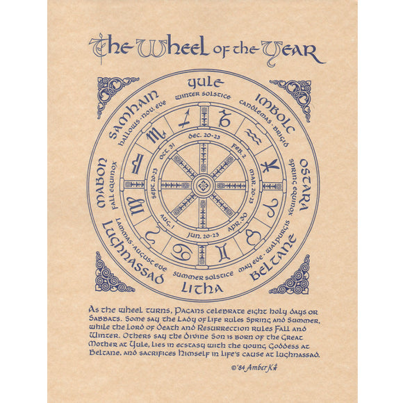 Wheel of the Year Parchment Poster (8.5