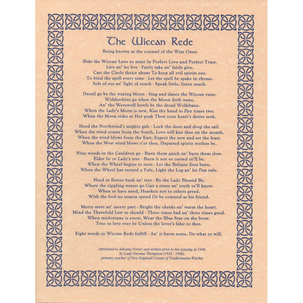Wiccan Rede Long Poem Parchment Poster 85 X 11 Grove And Grotto
