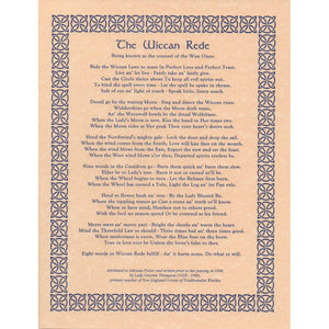 "Wiccan Rede (Long Poem) Parchment Poster (8.5"" x 11"") - Grove and Grotto"