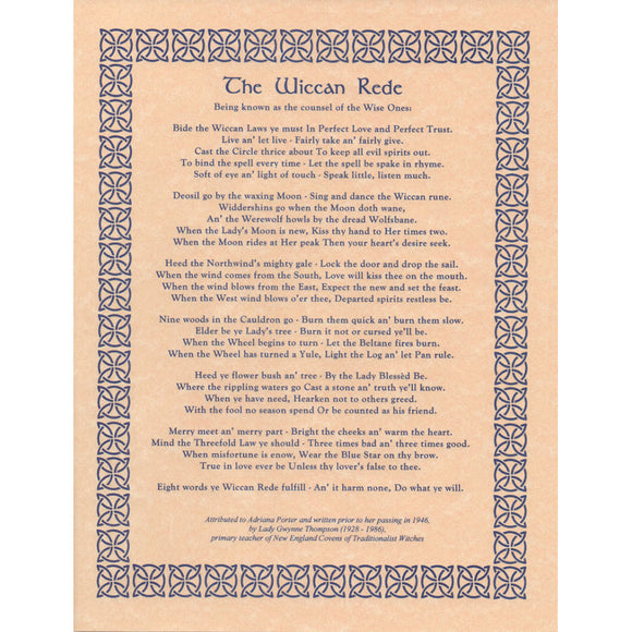 Wiccan Rede (Long Poem) Parchment Poster (8.5