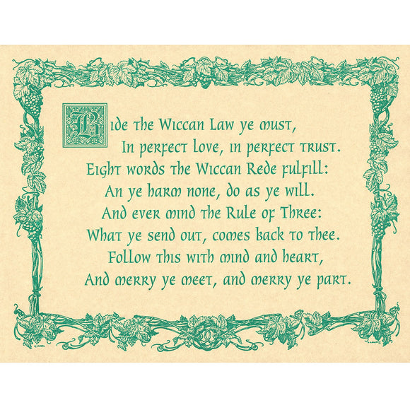 Wiccan Rede (Short Poem) Parchment Poster (8.5