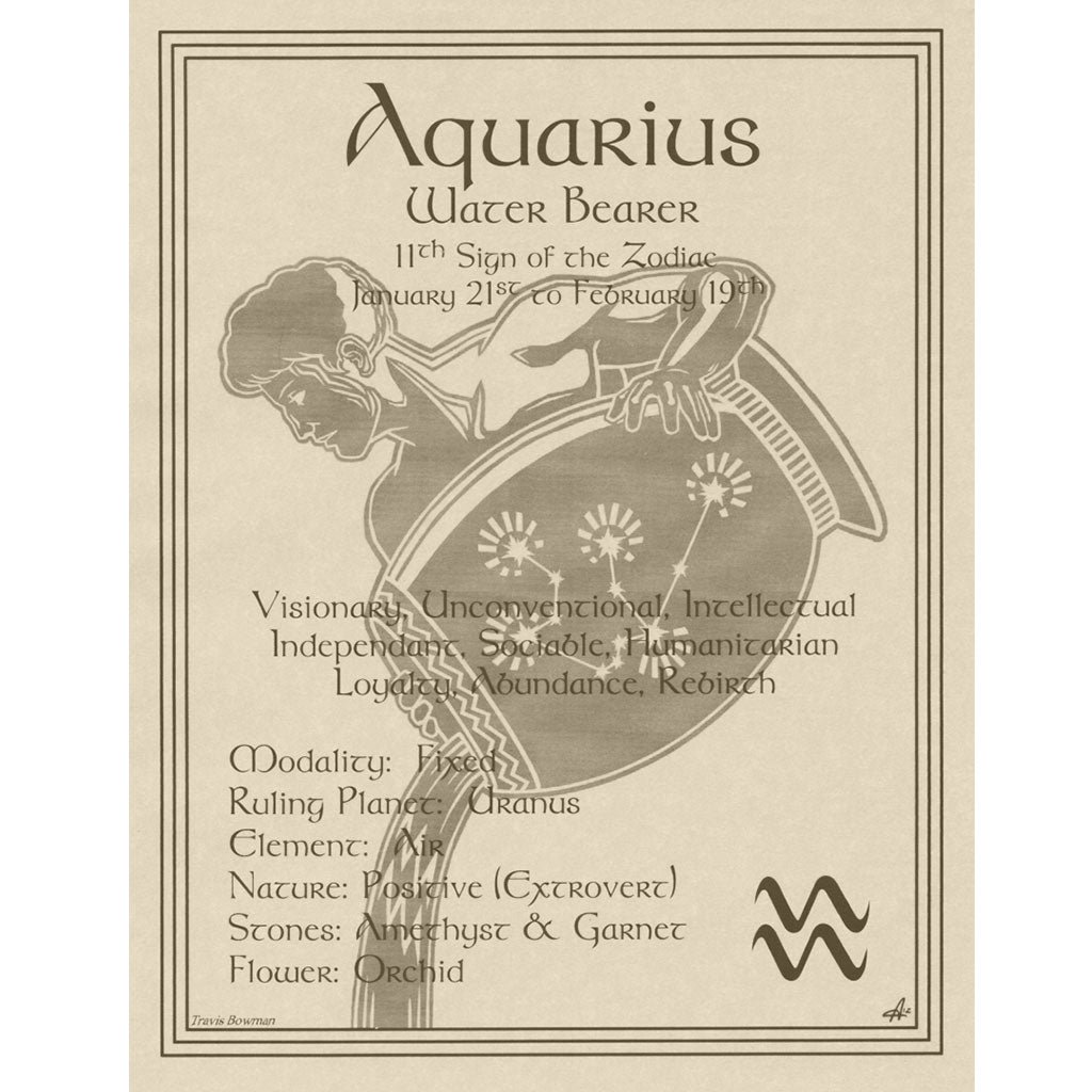 "Aquarius Parchment Poster (8.5"" x 11"") - Grove and Grotto"