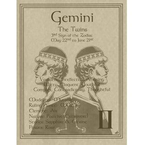 "Gemini Parchment Poster (8.5"" x 11"") - Grove and Grotto"