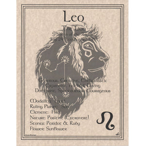 "Leo Parchment Poster (8.5"" x 11"") - Grove and Grotto"