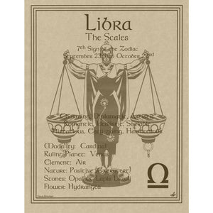 "Libra Parchment Poster (8.5"" x 11"") - Grove and Grotto"